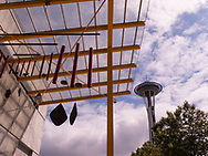 Space Needle and windchimes in Seattle on sunny day