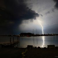 6.13.2013 Lake Erie Lightning (oil painting) at Lakeside Landing