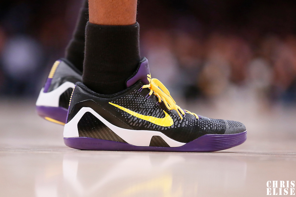 31 October 2014: Close view of Los Angeles Lakers guard Kobe Bryant (24) shoes during the Los Angeles Clippers 118-111 victory over the Los Angeles Lakers, at the Staples Center, Los Angeles, California, USA.