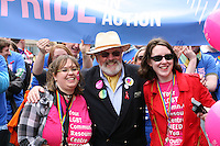 Senator David Norris (center)  with the Pride in Action group at the Dublin Pride 2012 LGBTQ festival parade  Dublin City Ireland. Saturday 30th June 2012.