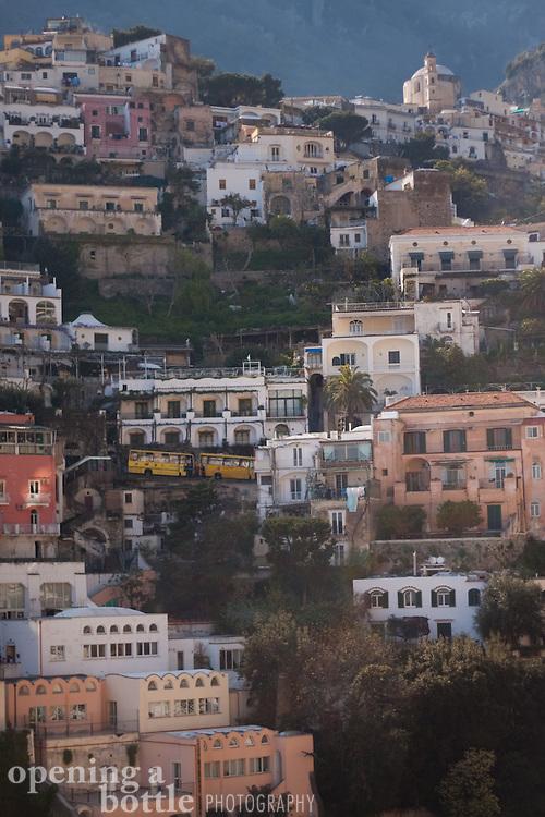 Detail of Positano on the Amalfi Coast, Campagna, Italy.