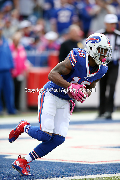 Buffalo Bills wide receiver and kick returner Percy Harvin (18) returns the opening kickoff during the 2015 NFL week 4 regular season football game against the New York Giants on Sunday, Oct. 4, 2015 in Orchard Park, N.Y. The Giants won the game 24-10. (©Paul Anthony Spinelli)