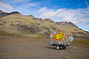 A trailer full of traffic signs. On the east coast of Iceland.