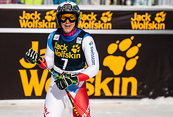 HOLDENER Wendy of Switzerland reacts in 2nd Run during the Ladies' GiantSlalom at 56th Golden Fox event at Audi FIS Ski World Cup 2019/20, on February 15, 2020 in Podkoren, Kranjska Gora, Slovenia. Photo by Matic Ritonja / Sportida