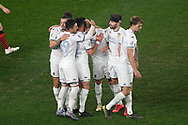SYDNEY, AUSTRALIA - JULY 20: Leeds United celebrate the goal of midfielder Mateusz Bogusz (58) during the club friendly football match between Leeds United and Western Sydney Wanderers FC on July 20, 2019 at Bankwest Stadium in Sydney, Australia. (Photo by Speed Media/Icon Sportswire)