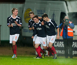 Falkirk's Lewis Small (16) celebrates with team mates after scoring their second goal..Falkirk 2 v 1 Hamilton, 24/11/2012..©Michael Schofield.