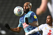 Wycombe Wanderers forward Josh Parker (27) has eyes on the ball during the EFL Trophy match between Milton Keynes Dons and Wycombe Wanderers at stadium:mk, Milton Keynes, England on 12 November 2019.