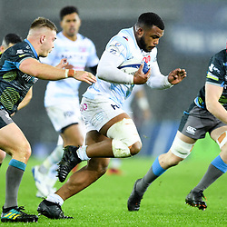 Hassane Kolingar of Racing 92 is tackled by Ifan Phillips of Ospreys during the European Rugby Challenge Cup, Pool 4 match between Ospreys and Racing 92 on December 7, 2019 in Bristol, United Kingdom. (Photo by Paul Lockyer / Icon Sport) - Liberty Stadium - Swansea (Pays de Galles) - Liberty Stadium - Swansea (Pays de Galles)