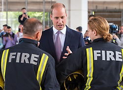 The Queen and The Duke of Cambridge visit Westway Sports Centre and meet members of the community affected by the fire at Grenfell Tower, as well as Firefighters and volunteers, in Notting Hill, London, UK, on the 16th June 2017. Picture by Dominic Lipinski/WPA-Pool. 16 Jun 2017 Pictured: Prince William, Duke of Cambridge. Photo credit: MEGA TheMegaAgency.com +1 888 505 6342