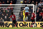 Goal - Mbwana Samatta (20) of Aston Villa scores a goal beating Aaron Ramsdale (12) of AFC Bournemouth to make the score 2-1 during the Premier League match between Bournemouth and Aston Villa at the Vitality Stadium, Bournemouth, England on 1 February 2020.