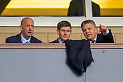 Rangers Director of Football, Mark Allen (pointing) discusses the match with Rangers manager Steven Gerrard and assistant coach Gary McAllister during the Scottish FA Youth Cup Final match between Celtic and Rangers at Hampden Park, Glasgow, United Kingdom on 25 April 2019.