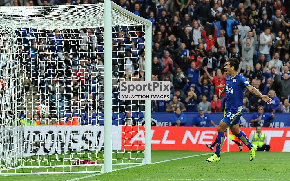 Leonardo Ulloa watches as Nathan Dyer's brave header crosses the line for Leicester's winning goal (c) Simon Kimber   SportPix.org.uk