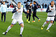 Queens Park Rangers defender Jake Bidwell (3) warming up during the EFL Sky Bet Championship match between Queens Park Rangers and Ipswich Town at the Loftus Road Stadium, London, England on 2 January 2017. Photo by Andy Walter.