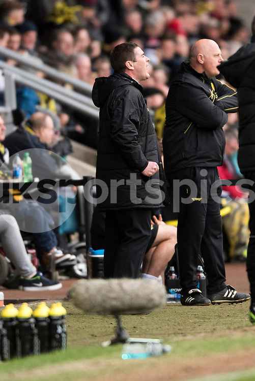 Nigel Clough, Burton Albion Manager shouts at his team during the Sky Bet League 1 match between Burton Albion and Oldham Athletic at the Pirelli Stadium, Burton upon Trent, England on 26 March 2016. Photo by Brandon Griffiths.