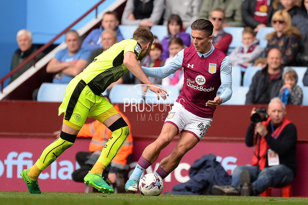 Aston Villa midfielder Jack Grealish (40) on the ball during the EFL Sky Bet Championship match between Aston Villa and Reading at Villa Park, Birmingham, England on 15 April 2017. Photo by Dennis Goodwin.