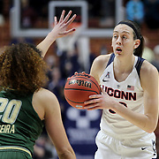Breanna Stewart, UConn, in action defended by Laura Ferreira, USF, during the UConn Huskies Vs USF Bulls 2016 American Athletic Conference Championships Final. Mohegan Sun Arena, Uncasville, Connecticut, USA. 7th March 2016. Photo Tim Clayton