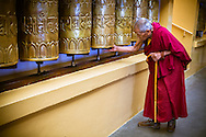 Monk Elder turning prayer wheels at the Dalai Lama's temple, Dharamsala, India