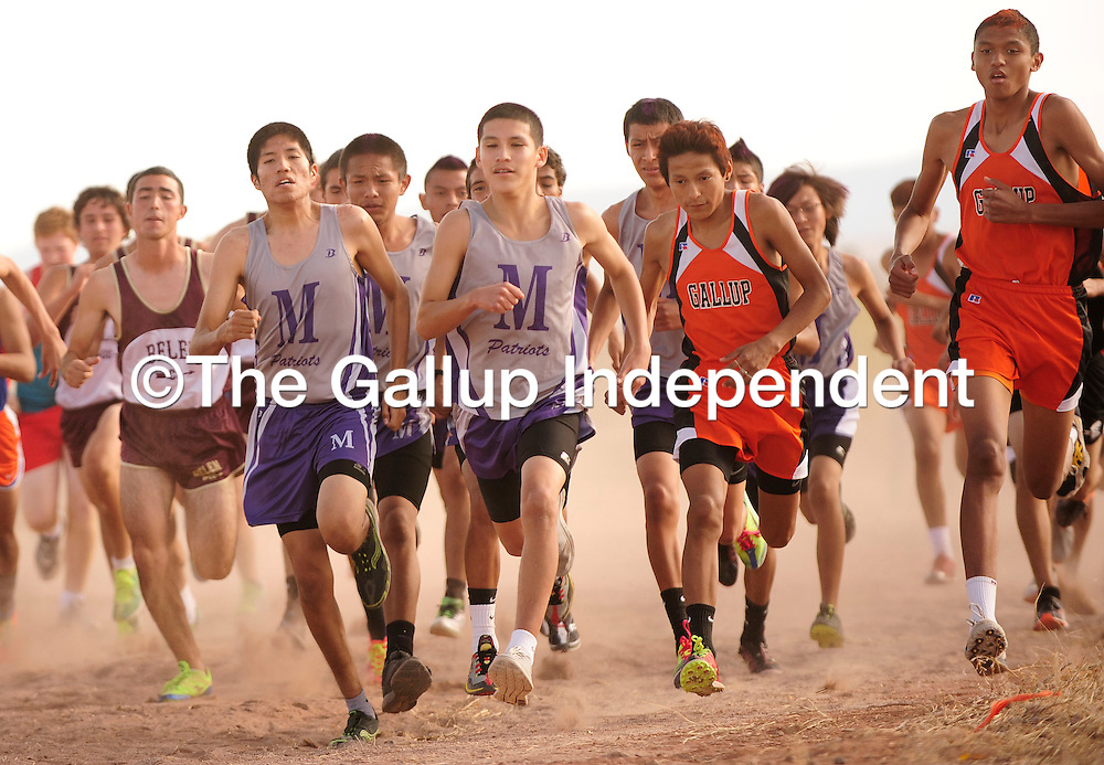 110212  Adron Gardner<br /> <br /> The Miyamura Patriot and Gallup Bengal Boys set off in the district cross country race in Grants Friday.