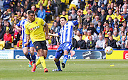 Watford Troy Deeney on the ball during the Sky Bet Championship match between Watford and Sheffield Wednesday at Vicarage Road, Watford, England on 2 May 2015. Photo by Phil Duncan.