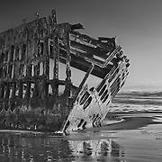 Peter Iredale Shipwreck - Sunset - Oregon Coast - HDR - Black & White