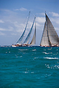 Windrose and J Class Ranger sailing in the 2010 Antigua Classic Yacht Regatta, Windward Race, day 4.