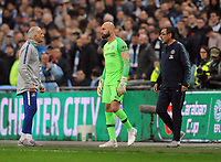 Football - 2019 EFL League Cup Final (Carabao Cup) - Manchester City vs. Chelsea<br /> <br /> Chelsea manager Maurizio Sarri waits with substitute keeper, Willy Caballero who was waiting to come on for, Kepa Arrizabalaga before Kepa refused to come off at Wembley Stadium.<br /> <br /> COLORSPORT/ANDREW CO