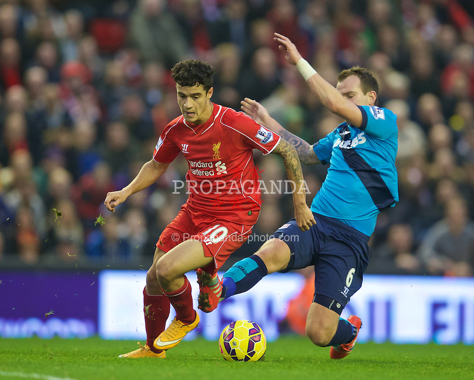 LIVERPOOL, ENGLAND - Saturday, November 29, 2014: Liverpool's Philippe Coutinho Correia in action against Stoke City during the Premier League match at Anfield. (Pic by David Rawcliffe/Propaganda)