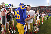 Dec 30, 2018; Los Angeles, CA, USA; Los Angeles Rams quarterback Jared Goff (16) shakes hands with San Francisco 49ers quarterback Nick Mullens (4) after the game at Los Angeles Memorial Coliseum. The Rams defeated the 49ers 48-31.  (Robin Alam/Image of Sport)