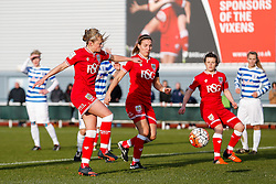 Millie Farrow sets up Grace McCatty (capt) of Bristol City Women for their sides 5th goal of the match to make it 5-1 - Mandatory byline: Rogan Thomson/JMP - 14/02/2016 - FOOTBALL - Stoke Gifford Stadium - Bristol, England - Bristol City Women v Queens Park Rangers Ladies - SSE Women's FA Cup Third Round Proper.