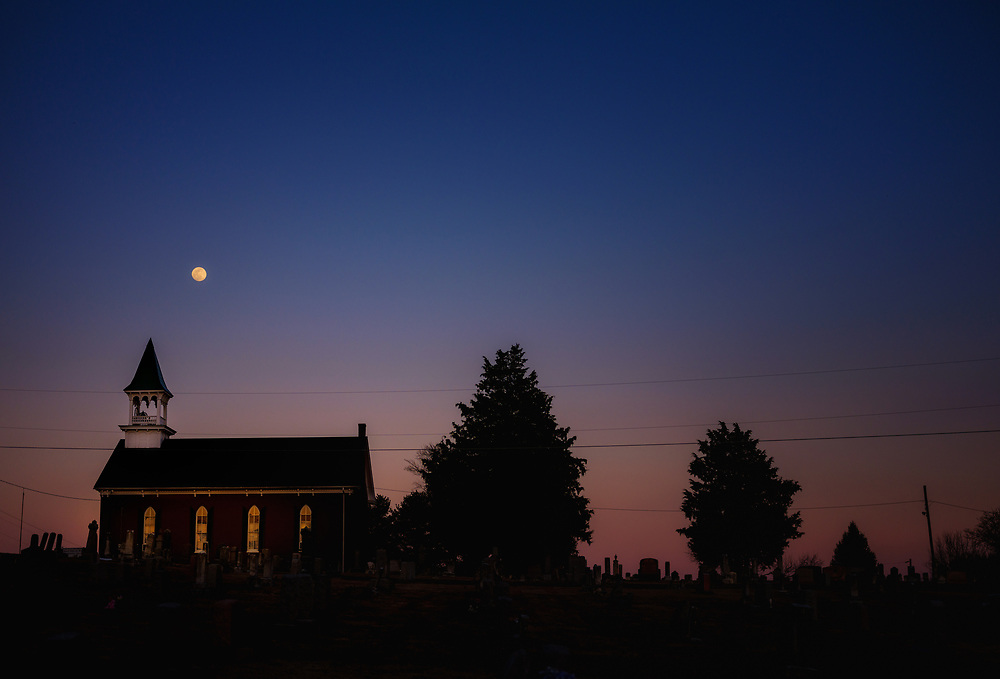 Full moon over Saint John the Baptist Orthodox Church in Lewistown, Maryland.