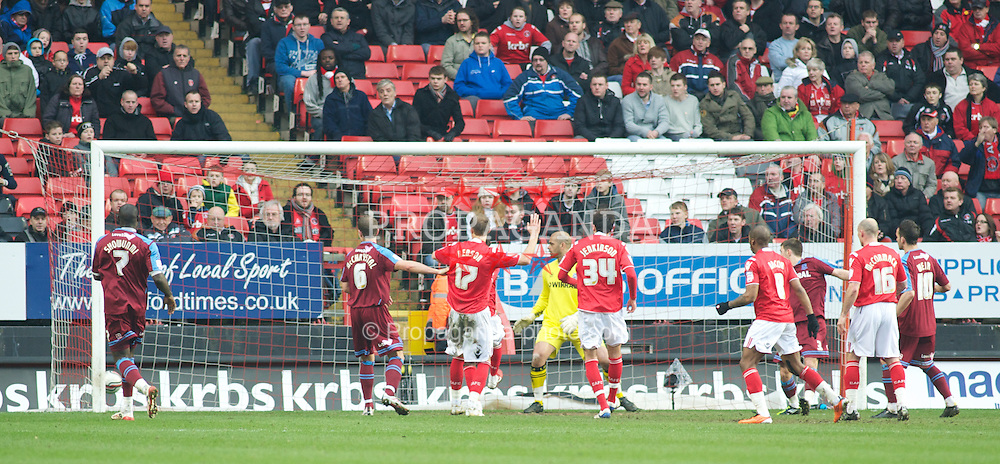 LONDON, ENGLAND - Saturday, March 5, 2011: Tranmere Rovers' players look dejected after Charlton Athletic's Miguel Angel Llera (out of pic) scores from a freekick to make it 1-1 during the Football League One match at The Valley. (Photo by Gareth Davies/Propaganda)