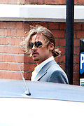 04.AUGUST.2012. LONDON<br /> <br /> BRAD PITT ON THE SET OF THE COUNSELOR WITH A STUNT DOUBLE CURRENTLY BEING FILMED IN EAST LONDON<br /> <br /> BYLINE: EDBIMAGEARCHIVE.CO.UK<br /> <br /> *THIS IMAGE IS STRICTLY FOR UK NEWSPAPERS AND MAGAZINES ONLY*<br /> *FOR WORLD WIDE SALES AND WEB USE PLEASE CONTACT EDBIMAGEARCHIVE - 0208 954 5968*