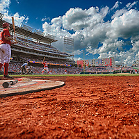 07 July 2013:  A15 frame HDR image of Washington Nationals third baseman Ryan Zimmerman (11) on deck with left fielder Bryce Harper (34) at bat at Nationals Park in Washington, D.C. where the Washington Nationals defeated the San Diego Padres, 11-7 to sweep the series.