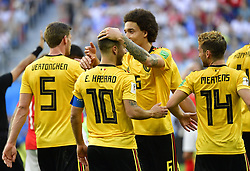 July 14, 2018 - Saint Petersbourg, Russie - SAINT PETERSBURG, RUSSIA - JULY 14 : goal Eden Hazard midfielder of Belgium, Axel Witsel midfielder of Belgium   during the FIFA 2018 World Cup Russia Play-off for third place match between Belgium and England at the Saint Petersburg Stadium on July 14, 2018 in Saint Petersburg, Russia, 14/07/18 (Credit Image: © Panoramic via ZUMA Press)