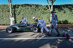 © Licensed to London News Pictures. 08/09/2016<br /> Goodwood Revival Weekend, Goodwood, West Sussex. UK.<br /> The 2016 Goodwood Revival is the world's largest historic motor racing event. Competitors and enthusiasts dress in period fashions recreating the glorious days of the race circuit.<br /> Photo credit : Ian Whittaker/LNP