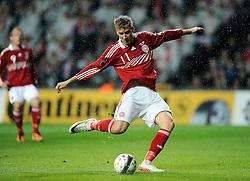 [DK=06-09-2011: Fodbold Landskamp EM Kvalifikationskamp, Danmark-Norge: Nicklas Bendtner, Danmark. scorer til 1-0.Foto: Lars Møller/Sportsagency.dk].[UK=06-09-2011: Soccer National Team EURO 2012 Qualification match, Denmark-Norway: Nicklas Bendtner, Danmark. scores to 1-0.Photo: Lars Moeller/Sportsagency.dk].