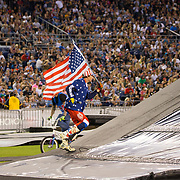 Travis Pastrana flying the American Flag at Nitro Circus San Diego,Ca. Credit: Daniel Schenkelberg