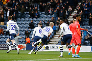 Goal celebration by Jayden Stockley of Preston North End  during the EFL Sky Bet Championship match between Preston North End and Huddersfield Town at Deepdale, Preston, England on 9 November 2019.