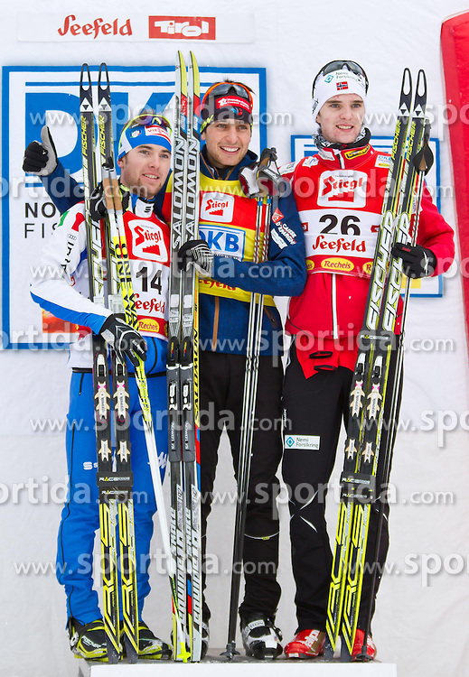 19.12.2011, Casino Arena, Seefeld, AUT, FIS Nordische Kombination, Langauf 10 km, im Bild Alessandro Pittin (ITA, 2. Platz) // Alessandro Pittin of Italy second place, Janson Lamy Chappuis (FRA, 1. Platz) // Janson Lamy Chappuis of France first place, Joergen Graabak (NOR, 3. Platz ) // Joergen Graabak of Norway thirt place during the cross-country skiing 10 km at FIS Nordic Combined World Cup in Sefeld, Austria on 20111211. EXPA Pictures © 2011, PhotoCredit: EXPA/ P.Rinderer