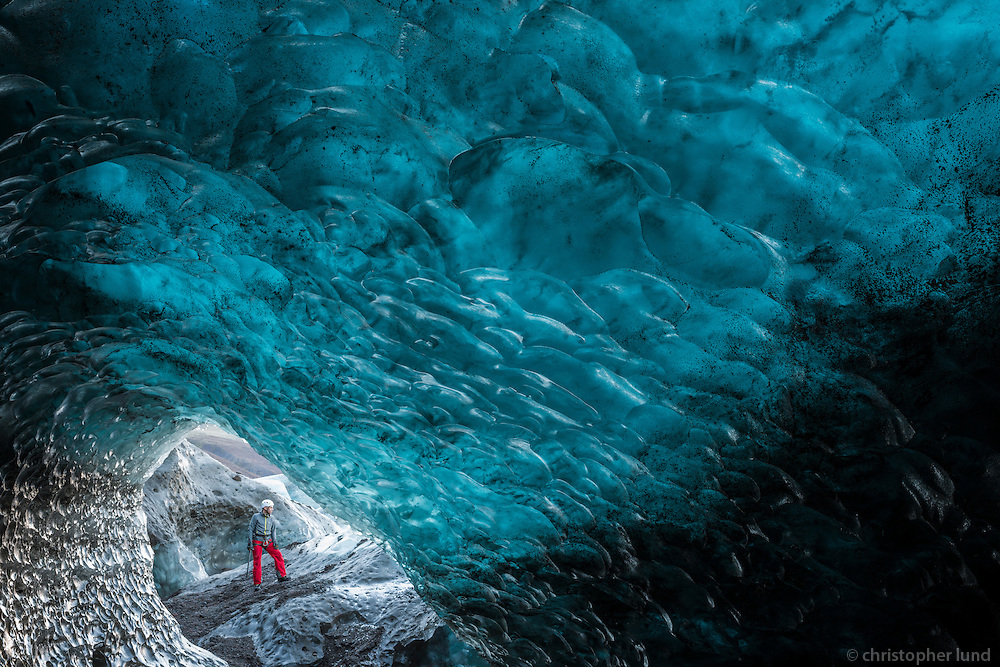 Einar Rúnar Sigurðsson, Mountain Guide by the entrance of an Ice Cave in Svínafellsjökull Outlet Glacier.d