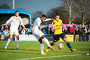 Massey opens the scoring during the The FA Cup match between Gosport Borough and Colchester United at Privett Park, Gosport, United Kingdom on 9 November 2014.