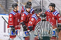 2019-11-23 | Umeå, Sweden: Teg (44) Casper Andersson scores 1-1 in Hockey 1:an Norra during the game  between Teg and Boden at A3 Arena ( Photo by: Michael Lundström | Swe Press Photo )<br /> <br /> Keywords: Umeå, Hockey, Hockey 1:an Norra, A3 Arena, Teg, Boden, mltb191123, happy happiness celebration celebrates