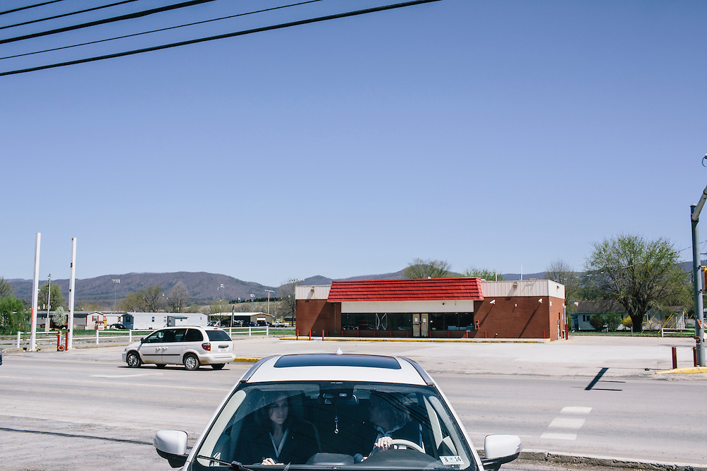 After stopping at O'Neill's Diner in Moorefield, West Virginia Secretary of State Natalie Tennant  leaves to tour the local courthouse on Wednesday, April 16, 2014. Tennant is running for the US Senate seat in West Virginia against popular Republican Rep. Shelley Moore Capito.