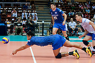 Samuele Tuia from France in action during the 2013 CEV VELUX Volleyball European Championship match between France and Turkey at Ergo Arena in Gdansk on September 22, 2013.<br /> <br /> Poland, Gdansk, September 22, 2013<br /> <br /> Picture also available in RAW (NEF) or TIFF format on special request.<br /> <br /> For editorial use only. Any commercial or promotional use requires permission.<br /> <br /> Mandatory credit:<br /> Photo by © Adam Nurkiewicz / Mediasport