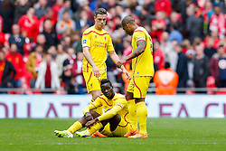 Mario Balotelli of Liverpool looks dejected after Aston Villa win the match 2-1 to reach the 2015 FA Cup Final - Photo mandatory by-line: Rogan Thomson/JMP - 07966 386802 - 19/04/2015 - SPORT - FOOTBALL - London, England - Wembley Stadium - Aston Villa v Liverpool - FA Cup Semi Final.