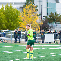 4th year goalkeeper Ashton Lowry (1) of the Regina Cougars in action during the Women's Soccer Home Game on September 23 at U of R Field. Credit Matt Johnson/©Arthur Images 2017