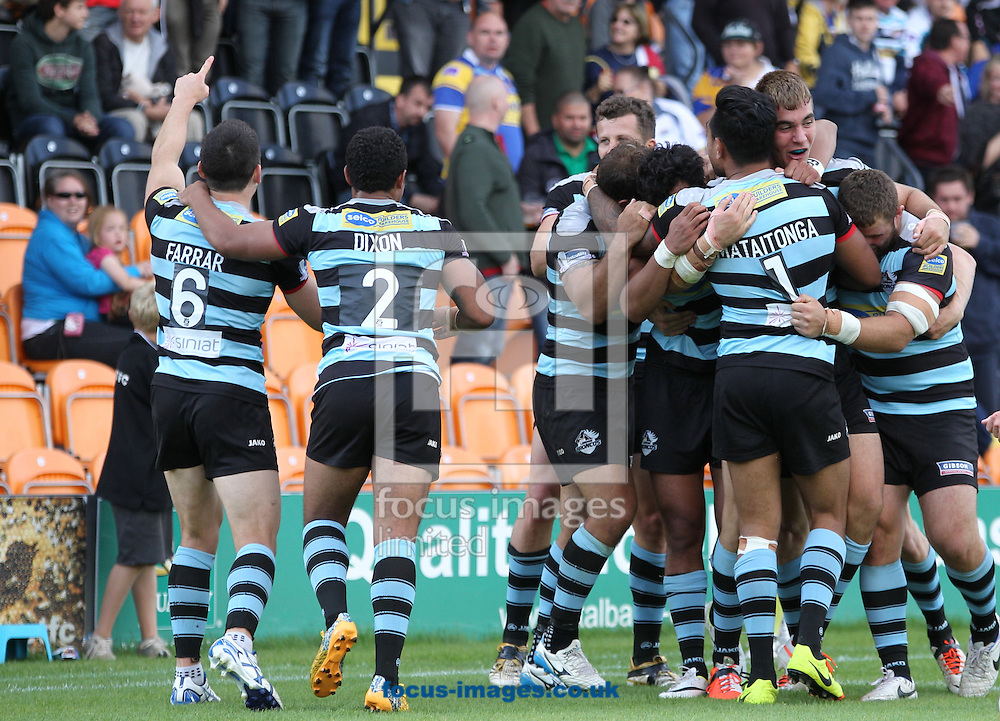 London Broncos players celebrating there 40-36 win over  Leeds Rhinos during the First Utility Super League match at The Hive Stadium, Harrow<br /> Picture by Stephen Gaunt/Focus Images Ltd +447904 833202<br /> 17/08/2014