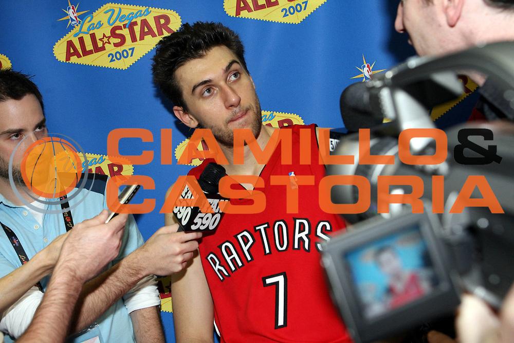 DESCRIZIONE : Las Vegas All Star Game 2007 Rookies-Sophomores <br />GIOCATORE : Bargnani <br />SQUADRA : Rookies Toronto Raptors <br />EVENTO : All Star Game 2007 <br />GARA : Rookies Sophomores <br />DATA : 16/02/2007 <br />CATEGORIA : Ritratto<br />SPORT : Pallacanestro <br />AUTORE : Agenzia Ciamillo-Castoria/E.Castoria <br />Galleria : NBA 2006-2007 <br />Fotonotizia : Las Vegas All Star Game 2007 Rookies Sophomores <br />Predefinita :