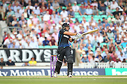 New Zealand Ross Taylor hits runs for his 100 during the Royal London One Day International match between England and New Zealand at the Oval, London, United Kingdom on 12 June 2015. Photo by Phil Duncan.