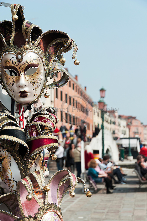 Mardi Gras masks for sale near the piazza San Marco, Venice Italy